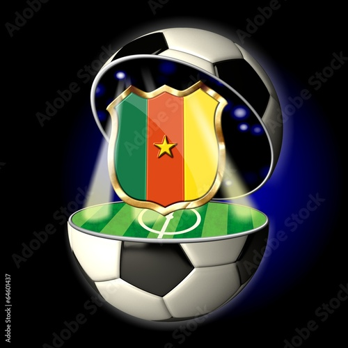 Poster  Open soccer ball with crest of CAMEROON