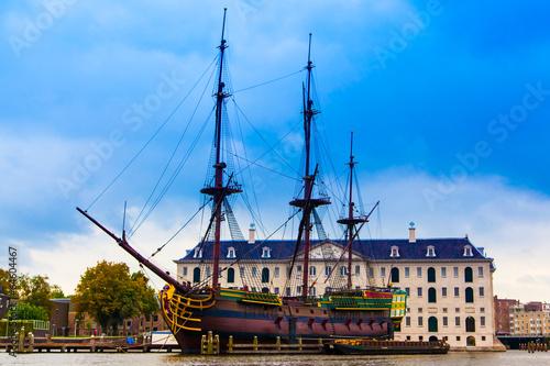 VOC Amsterdam. Dutch sailing ship Canvas Print