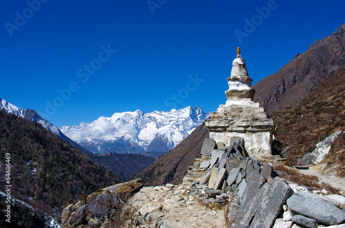 Wall Murals Nepal Stupa on the way to Everest Base Camp in Himalayas