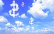 Leinwandbild Motiv Dollar symbol from clouds