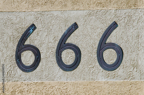 Photo  Number 666 sign and symbol