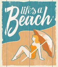 Vintage Retro Beach Poster - V...