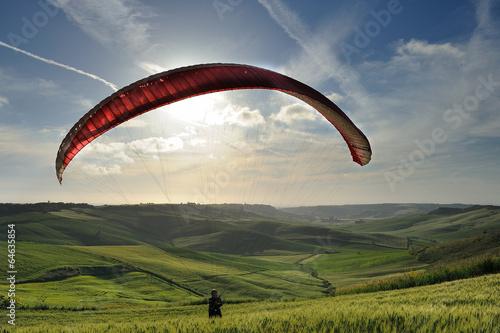 Foto op Aluminium Luchtsport Paraplending silhouette
