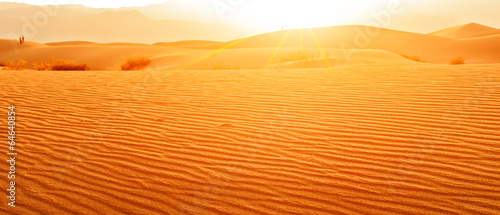 Poster de jardin Desert de sable Sunset in desert