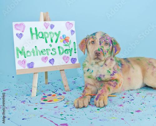 Deurstickers Franse bulldog Happy Mother's Day Puppy