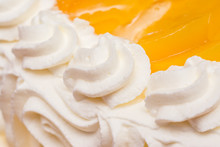 Peaches Whip Cream Cake Close Up