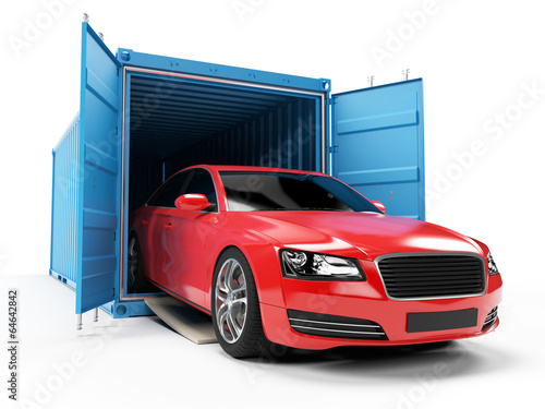 Valokuva  3d rendered illustration of a car inside of a container