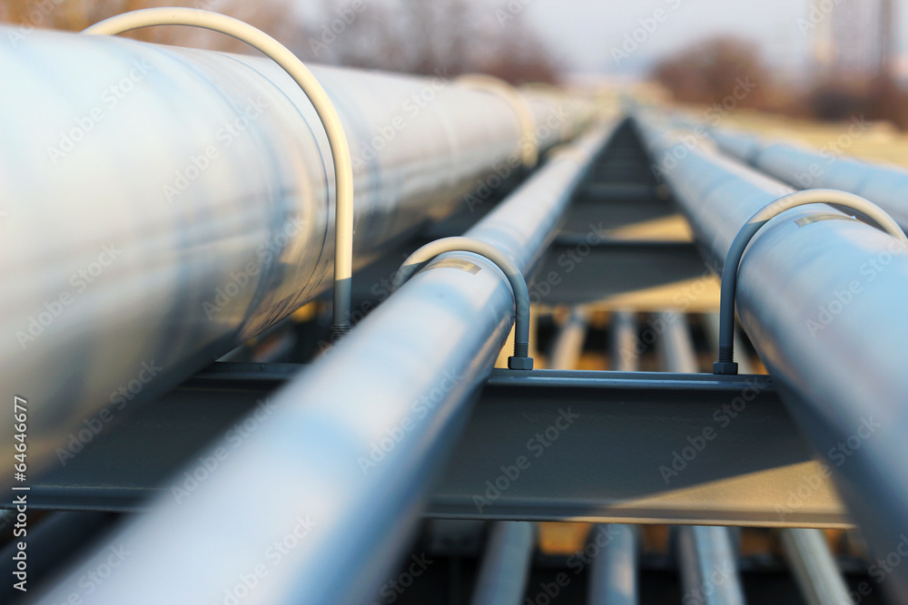 Fototapety, obrazy: detail of steel light pipeline in oil refinery
