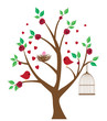 vector tree with bird nest, cage, birds