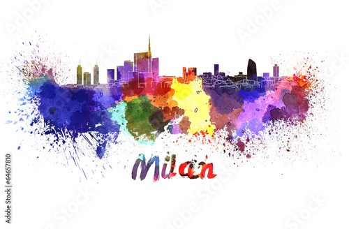 Milan skyline in watercolor Poster