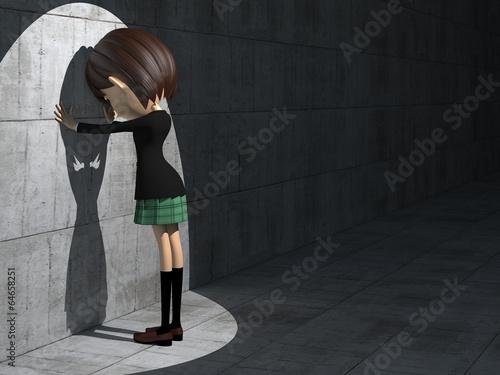 Fotografie, Obraz  落胆する女子学生