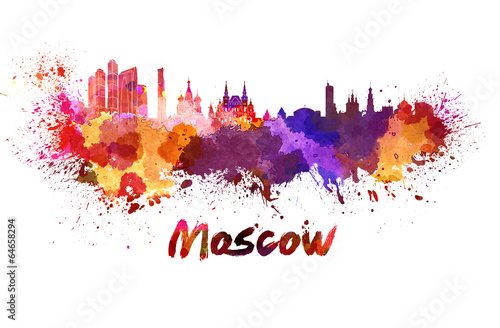 Moscow skyline in watercolor Poster