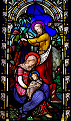 Naklejka Birth of Jesus with Mary and Joseph