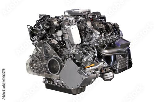 v6 car hybrid engine isolated on white Fototapeta