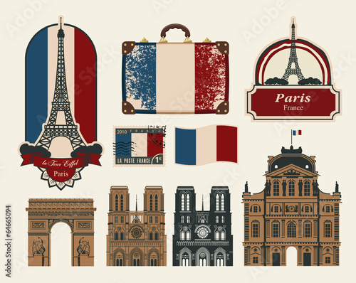set of characters and symbols on the subject of France Paris Wallpaper Mural