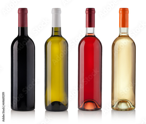 Foto op Canvas Wijn Set of Bottles isolated on white background