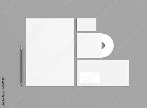 Papier Visitenkarte Brief Mit Stift Hintergrund Grau Buy