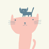 Vector illustration of a cute cat and a kitten for mothers day