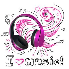 Fototapeta Music doodle headphones
