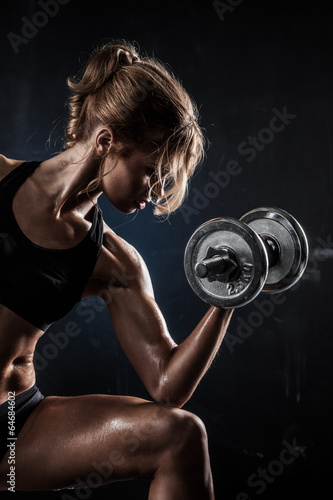 Fitness with dumbbells - 64684602