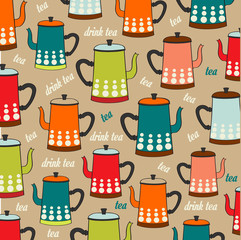 Panel Szklany Do herbaciarni Seamless pattern with vintage Kettles