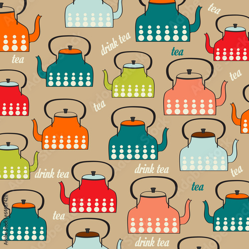 Seamless pattern with vintage Kettles - 64687428