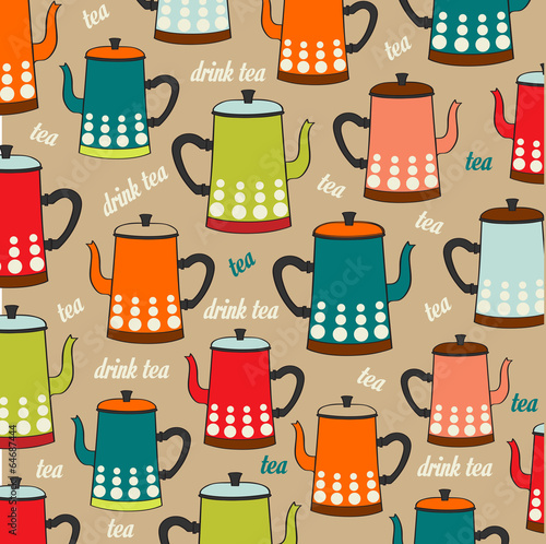 Seamless pattern with vintage Kettles - 64687444