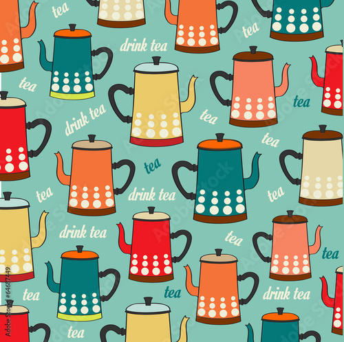 Seamless pattern with vintage Kettles - 64687449