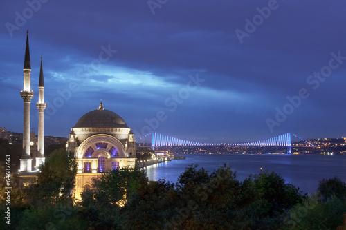 Fototapeta Istanbul - Dolmabahçe Mosque and Bosphorus Bridge