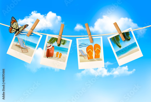 Vacation photos hanging on a rope. Vector. Poster