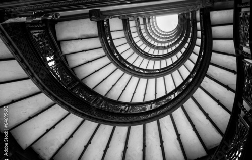 Fotografering  Low angle view of spiral staircase, Chicago, Cook County, Illino