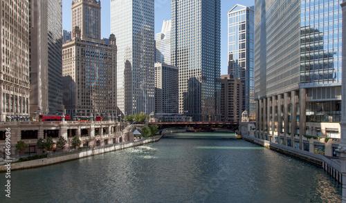 Poster Chicago Skyscraper at waterfront, La Salle Street Bridge, Chicago River,