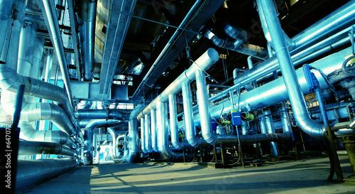 Staande foto Industrial geb. Industrial zone, Steel pipelines and equipment