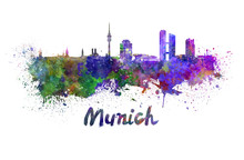 Munich Skyline In Watercolor
