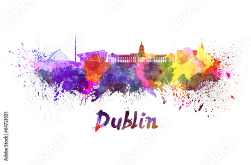 Dublin skyline in watercolor Poster