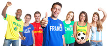 French Soccer Fan Showing Thumb Up  With Other Fans