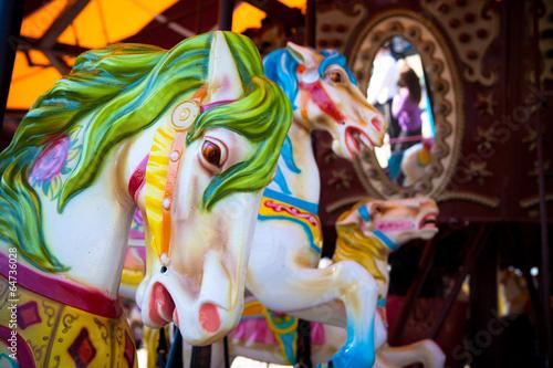 Fotografie, Obraz  Horses on a carousel