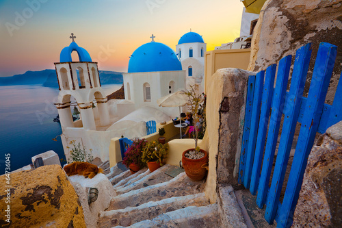 Poster Santorini Santorini Sunset Pathway View