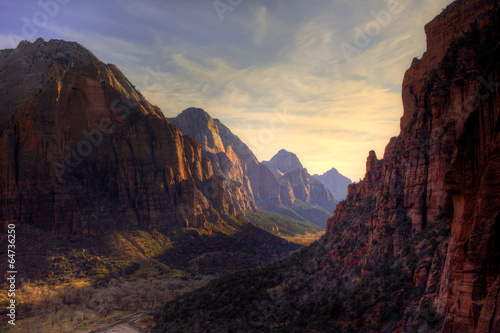 Fotobehang Canyon View of Zion Canyon National Park from Angel's Landing Trail
