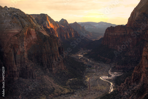 Foto op Plexiglas Canyon View of Zion Canyon National Park from Angel's Landing Trail