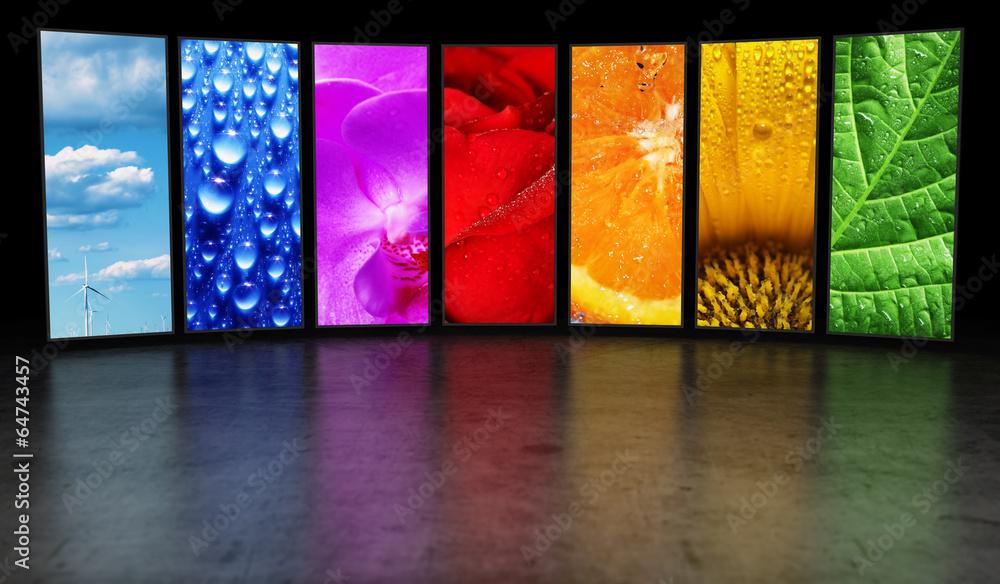 Fototapety, obrazy: Rainbow of images background