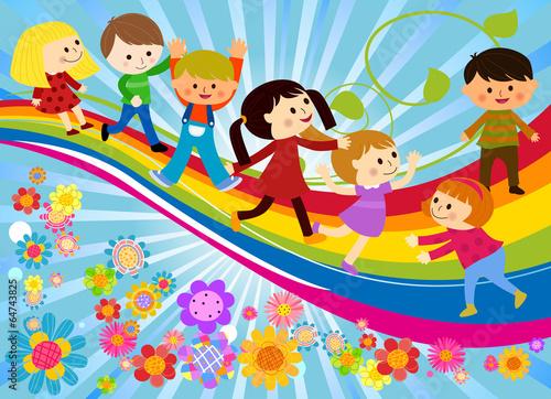 In de dag Regenboog Happy children