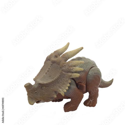 Dinosaur toy on white background .