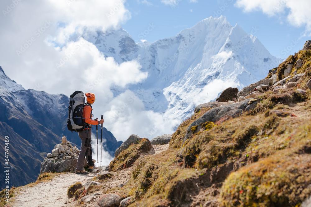 Fototapety, obrazy: Hiker walks on train in Himalayas