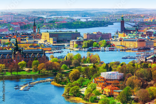Aerial panorama of Stockholm, Sweden Wallpaper Mural