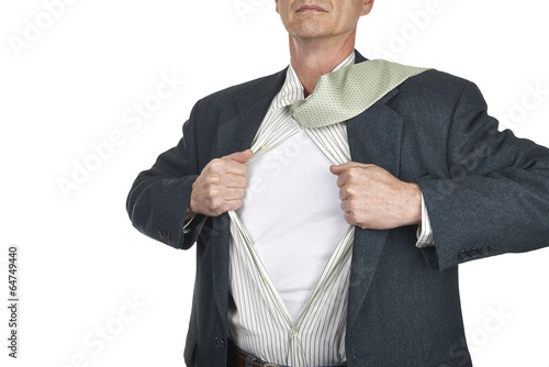 Businessman showing blank superhero suit underneath his shirt st Poster