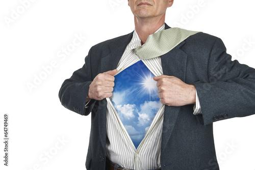 Photo Businessman showing superhero suit underneath his shirt standing
