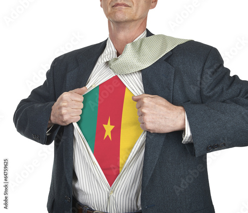 Photo  Businessman showing Cameroon flag superhero suit underneath his