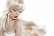 Leinwanddruck Bild - Beautiful blond with long hair. Makeup. Sensual woman with blowi
