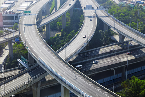 aerial view of the city overpass in early morning Canvas Print